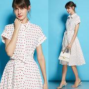 草莓纯棉衬衫裙很仙的法国小众桔梗裙赫本复古过膝连衣裙2019女夏