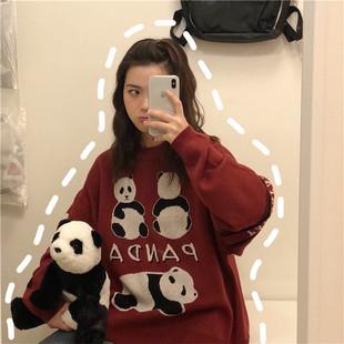 秋冬慵懒套头针织衫ins超火外套学生2018原宿风bf毛衣女