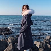 棉服女2018冬季东大门中长款收腰羽绒棉衣加厚大毛领工装外套