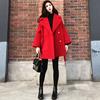 2018冬装气质大翻领红色毛呢外套女中长款加厚小个子呢子大衣