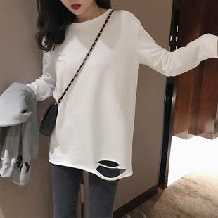 2018秋冬季加厚磨毛长袖T恤宽松破洞圆领纯色打底衫上衣女装