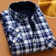 秋冬季加厚加绒保暖衬衫男士格子衬衫男长袖衬衣男寸衫潮