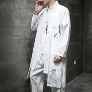 复古中国风格男装长衫秋仙鹤刺绣仙气垂感中长款风衣道袍汉服唐装