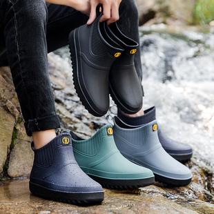 则享夏季雨鞋男士短筒防滑防水鞋男雨靴低帮时尚套鞋厨房钓鱼胶鞋