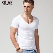 大V领T恤男士纯棉短袖修身紧身低领打底衫个性深V体恤大领口上衣