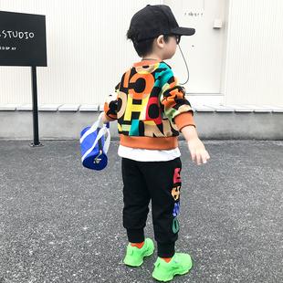 男童春装套装2021儿童韩版洋气童装宝宝卫衣两件套纯棉衣服潮