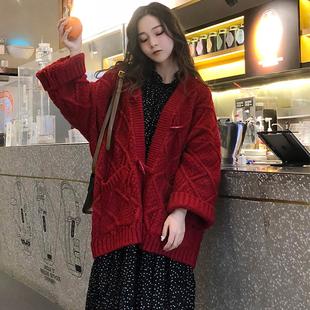 2020春秋女装chic毛衣女开衫外套粗棒针网红慵懒风宽松上衣潮