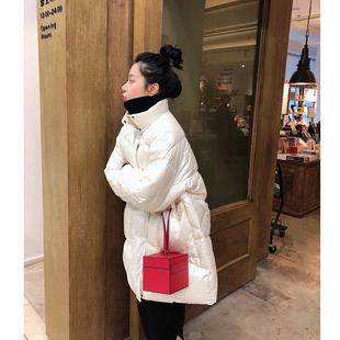海蒂 珠光白过膝鹅绒羽绒服女2018冬季立领宽松厚外套