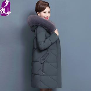 中老年羽绒棉服女中长款加厚棉袄50高贵妈妈冬装洋气棉衣外套时尚