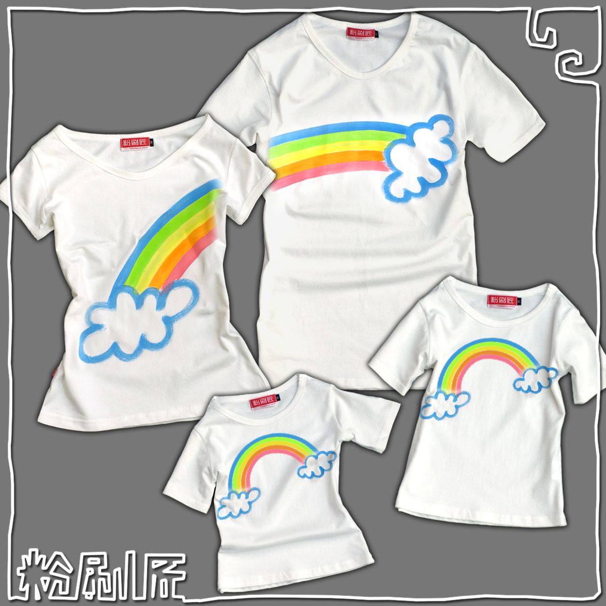 彩虹 手绘个性品质夏季t恤亲子装夏装2012款棉质女v领