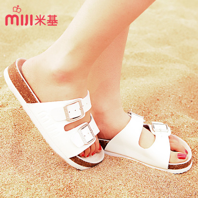 Mickey summer sandals female buckle leather Birkenstocks cork drag a couple of flat sandals tx-1