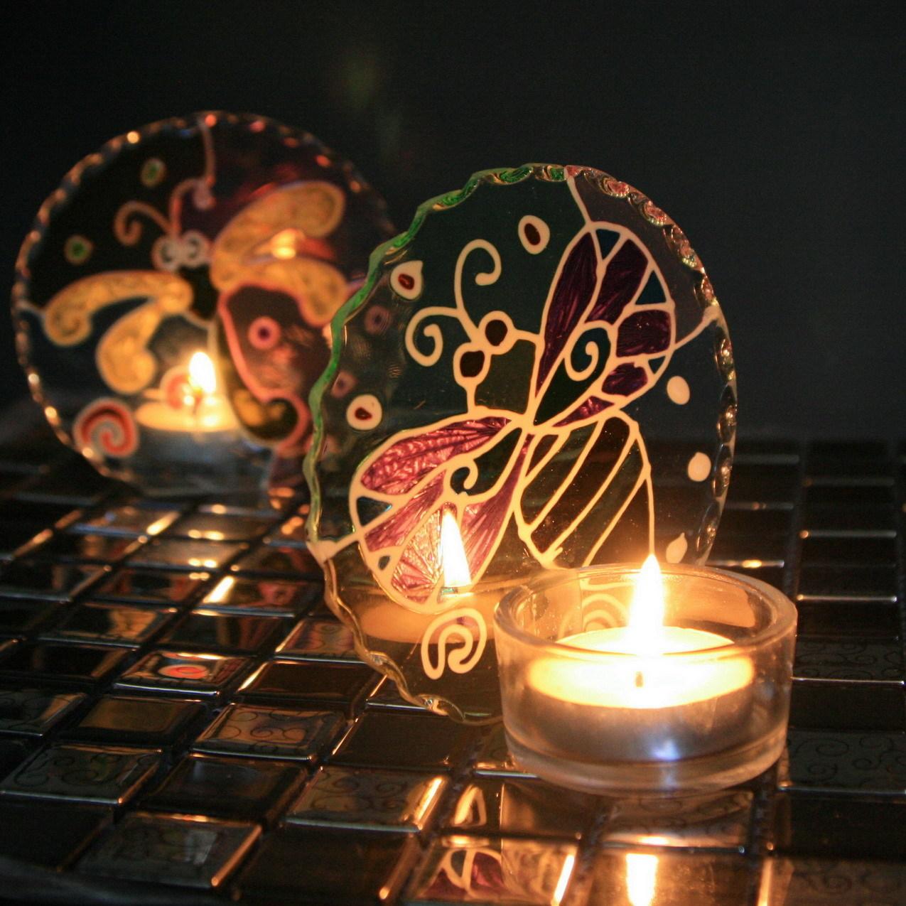 Подсвечник Дельфины и цветы ручная роспись стекла подсвечники бабочка Жук Аксессуары Подсвечник в форме бокала Европейский стиль Из стекла