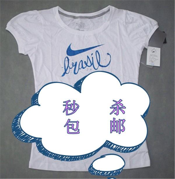 Спортивная футболка Nike 379825 Закругленный вырез Короткие рукава ( ≧35cm ) 100 хлопок Выполнить Влагопоглощающая функция % С логотипом бренда