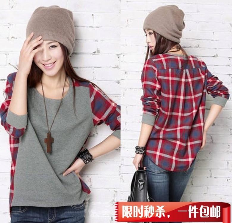 Футболка Осень 2012 новых корейских женщин t сетка улице свободные длинные t рубашка большой базы кода по электронной почте Хлопок Повседневный Стандартная длина ( 55 - 65см ) Молодежный