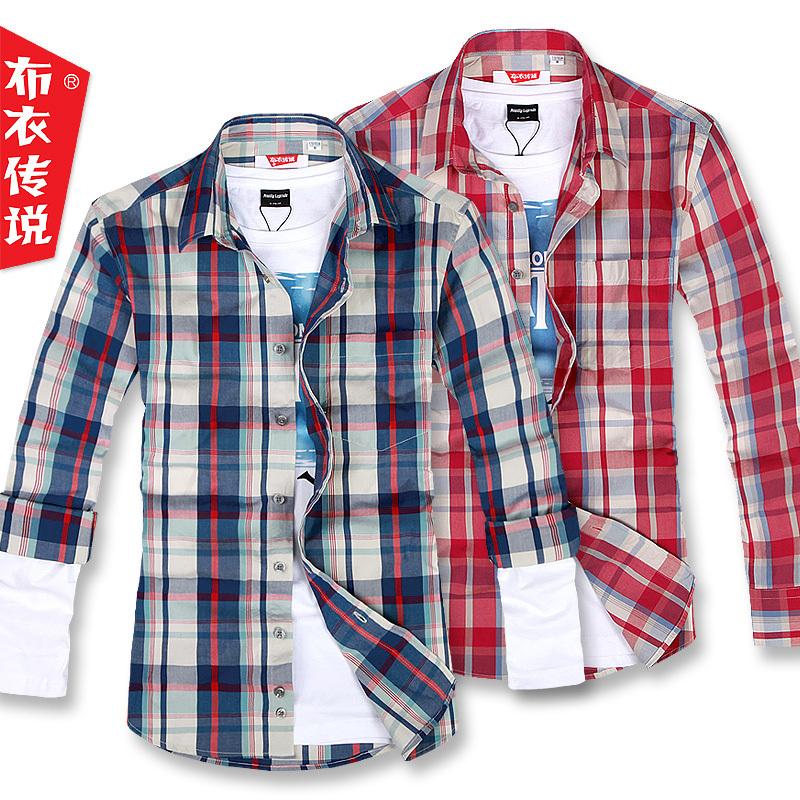 Рубашка мужская Pouilly Legende ncc081 2012 Осень 2012 Ткань в клетку Квадратный воротник Длинные рукава ( рукава > 57см )