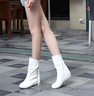 白色单靴子女春秋款冬季女鞋子短靴平底2018平跟学生内增高