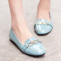 2012欧美范超大牌双G链条漆皮单鞋个性方头女平底休闲舒适女鞋子