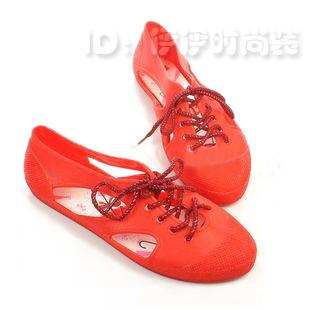 小时候的PVC塑料鞋 船型款 系带果冻鞋 休闲舒适女鞋 镂空凉鞋