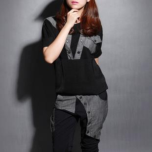 欧洲站2014女装韩版T恤哈伦裤子休闲时尚套装女款春夏装