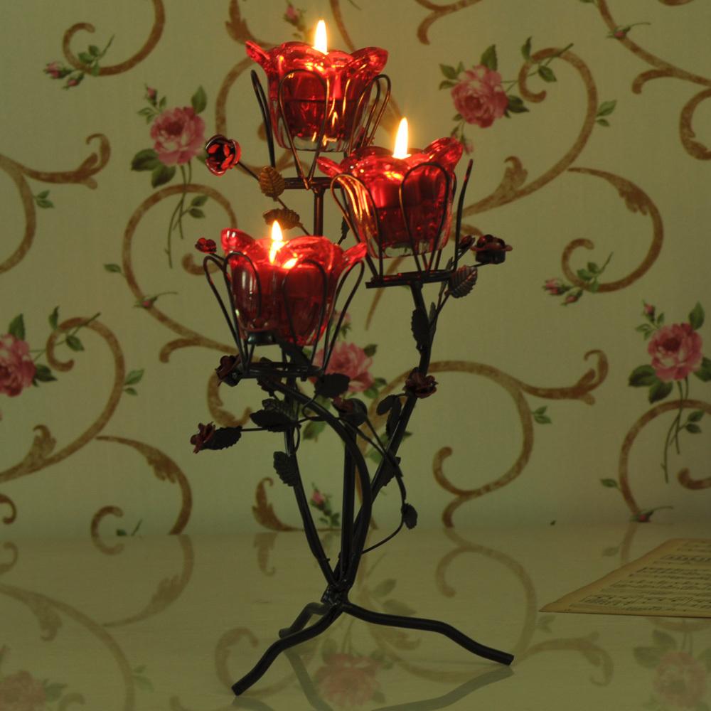 家居饰品玫瑰烛台欧式复古古典铁艺工艺摆件浪漫婚礼婚庆道具创意