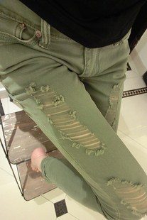 Джинсы женские «Сладкая одежды клуб» осень 2012 Европы тонкий зеленый изношенные стрейч джинсы