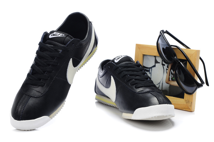 Кроссовки кортез классические ОГ кожа Форрест кожа повседневная обувь кроссовки черный и белый