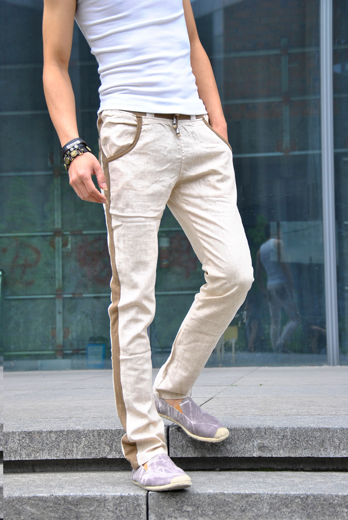 Summer men's casual pants linen pants men trousers Korea Slim tight summer pants, men pants, Department Sheng Song