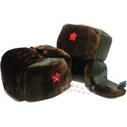 棉军帽雷锋帽复古军绿五角星帽子红五星男女款冬季护耳保暖帽