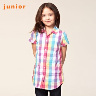 2012 new Giordano summer sweet Plaid short sleeve shirt girls long shirt 03342002