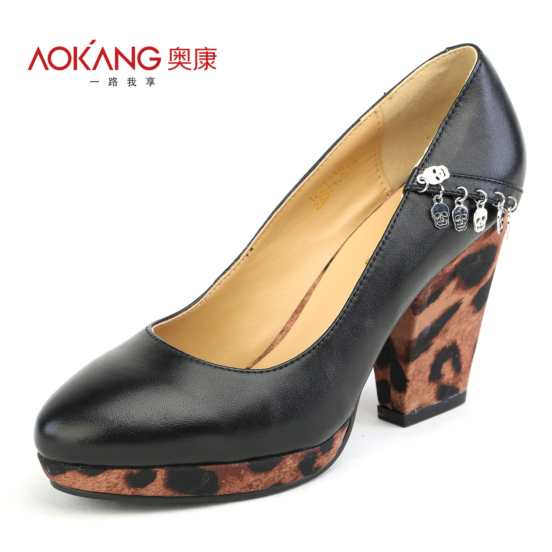 奥康皮鞋 2012秋款正品 女士水台底豹纹超高跟时尚女鞋-122111436