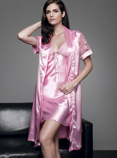 Dream ba Sally quality goods pink with soft copy silk short sleeve noble bud silk gown 010411121