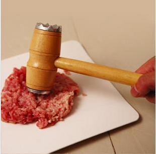 -Zhejiang-Shanghai 38 or email helper in  kitchen ~ double-head loose meat steak meat hammer hammer hammer with wooden handle 190g
