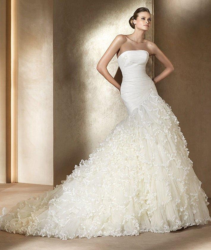 婚纱礼服2013韩版新款时尚公主经典荷叶边抹胸拖尾新娘热销13169