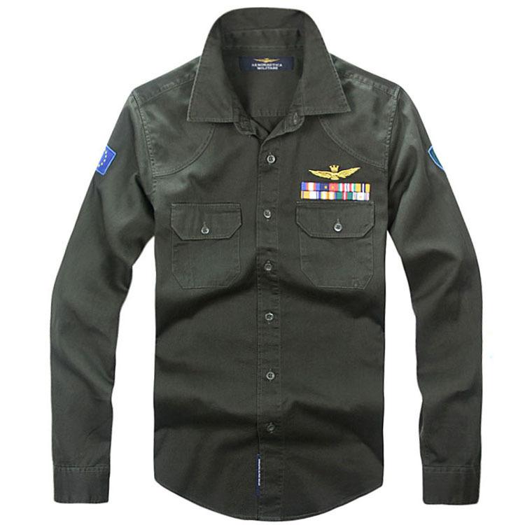 Рубашка мужская Aeronautica militare 7131 Осень 2012 Хлопок без добавок Квадратный воротник Длинные рукава ( рукава > 57см )