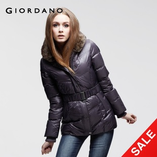 Snap up limited edition Giordano jacket female waist detachable Sea Tiger led Hat decoration down jacket 01371539