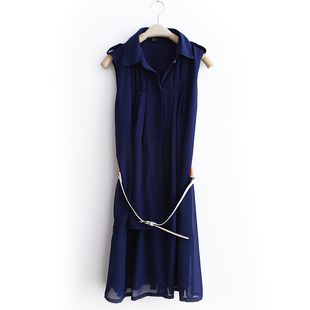 2012 spring clothing new trend in Europe and send quality lapel pure color chiffon sleeveless dress belt WQ1314