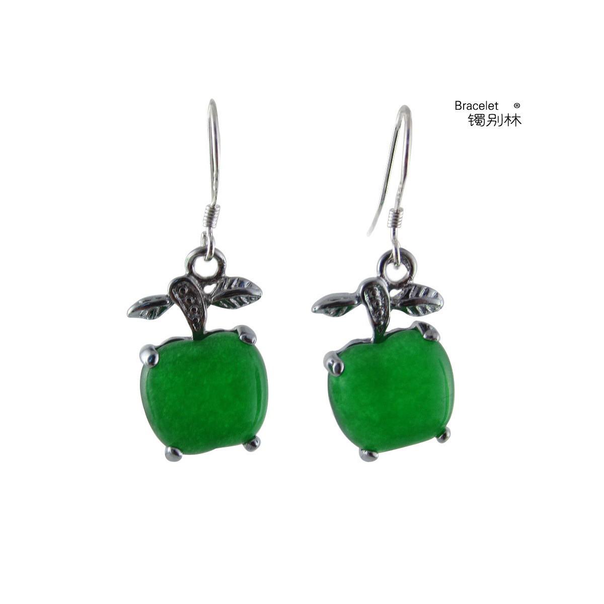 镯别林珠宝 925纯银镶嵌绿宝石 玉石耳环/耳钉/耳饰品 苹果耳坠