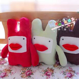 可爱红唇梦露兔毛绒玩具娃娃公仔玩偶 个性兔子抱枕 靠垫 靠背