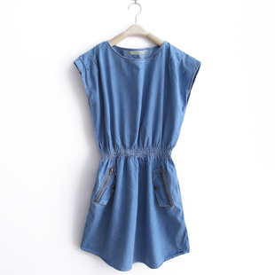 MaxMara new spring clothing in  2012 Korea round neck sleeveless denim vest denim dress skirt WQ1317