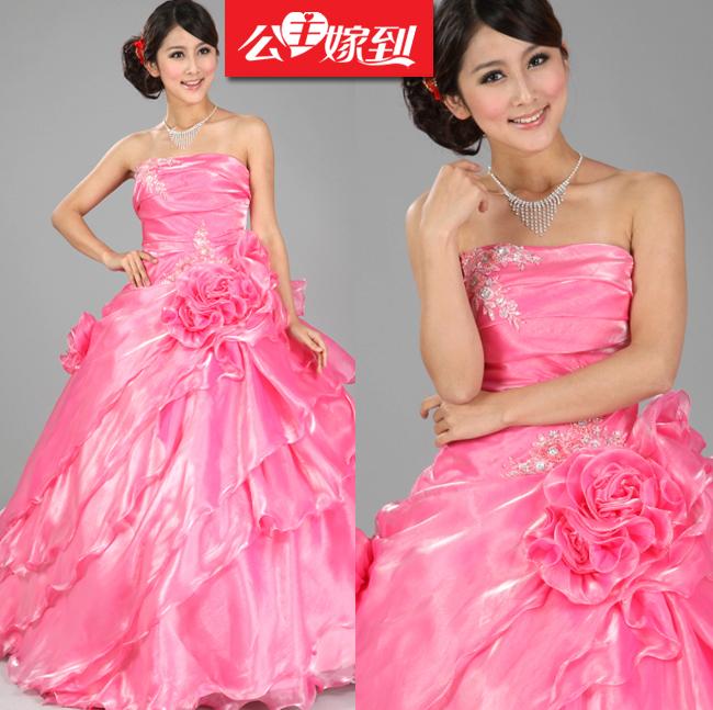 【公主嫁到】结婚季新娘婚纱结婚粉色婚纱抹胸齐地婚纱甜美公主婚纱礼服