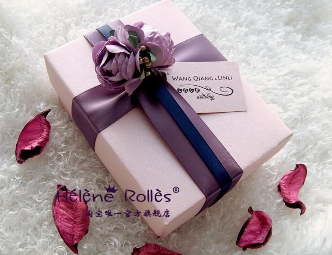 喜糖盒 大号 紫色 欧式 创意 礼盒 结婚 喜糖盒子 糖盒 成品