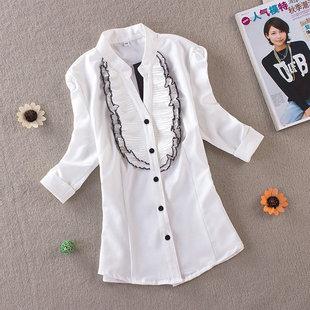 2014春夏立领泡泡袖中袖女式衬衫职业衬衣雪纺衫女夏