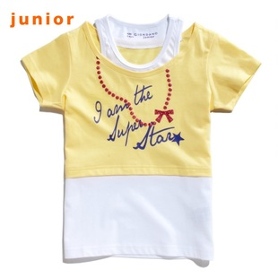 Giordano in summer 2012 new t-girl double collar cute printed t-shirt 03322023