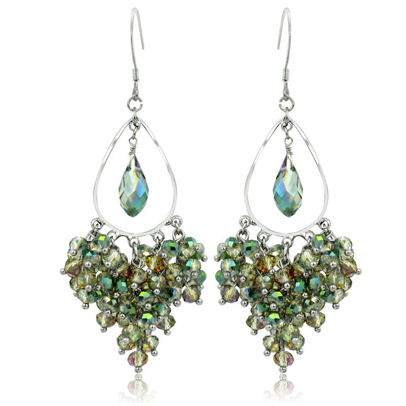 韩国饰品 水晶耳坠 华丽绿色黑色耳环 925银钩耳饰 水滴夸张首饰