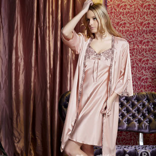 Халат Жен. Шелк Имитация натурального шёлка Однотонный цвет Сексуальный и очаровательный стиль
