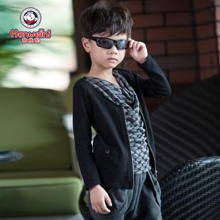 韩维妮 2014秋装时尚假两件男童装拉链拼接长袖儿童T恤