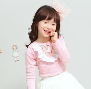 2014秋季童装 甜美蕾丝花边蝴蝶结女童打底衫长袖t恤上衣