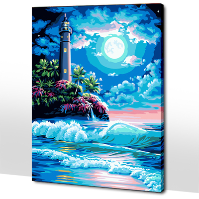 Happy Mania night diy digital painting landscape class surf waves 40 * 50 new seaside