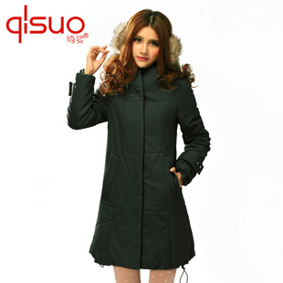 Женская утепленная куртка Qi Suo 1566 Mm Прямой Длинный рукав Зима 2011
