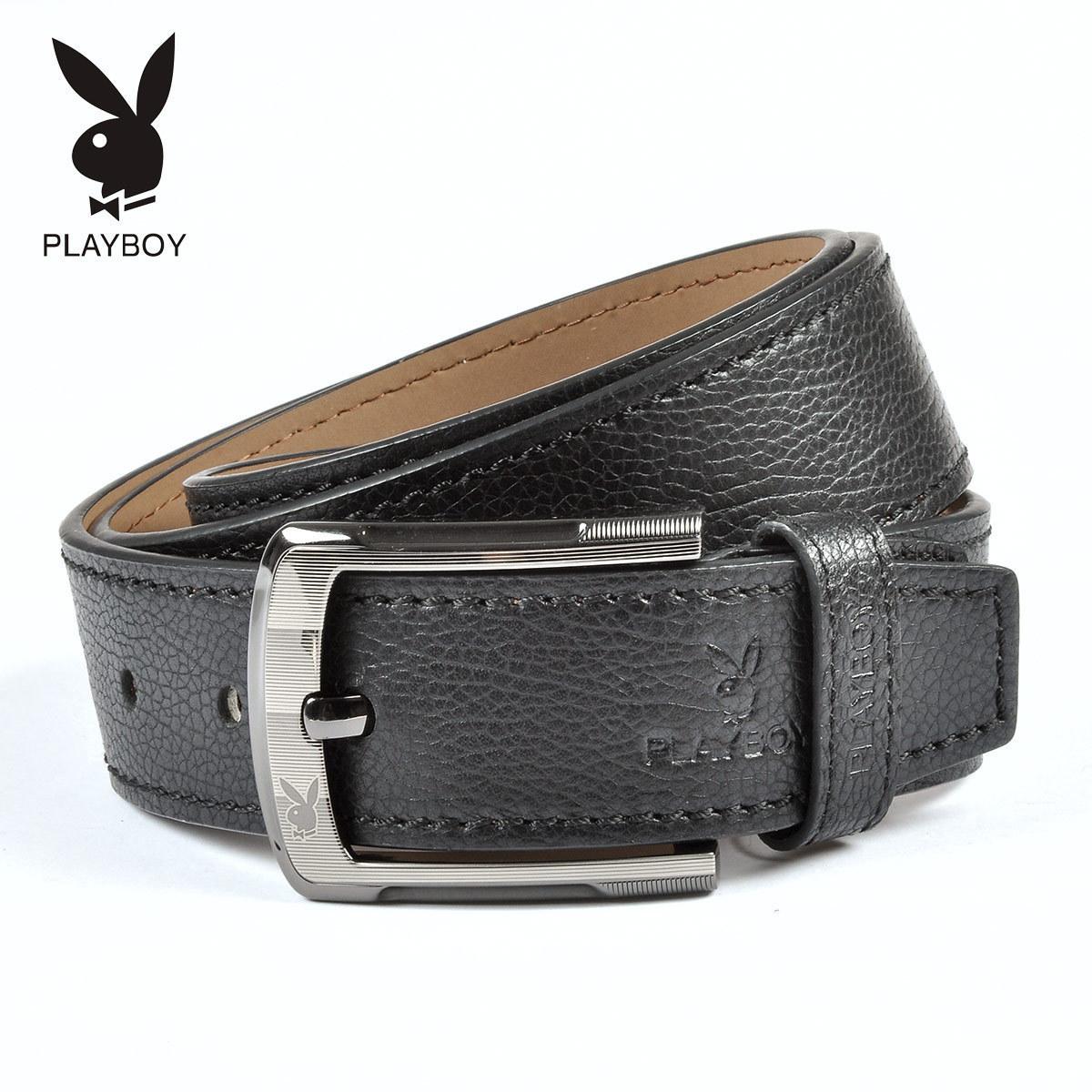 Ремень Playboy pdd0148/11 Мужчины Кожа быка Грубые украшения Липучка Надпись